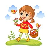The girl collects mushrooms in a basket. Stock Photo
