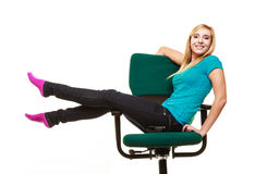 Girl college student sitting on wheel chair relaxing. Stock Photo