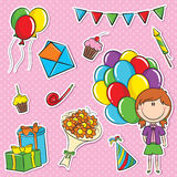 Girl with color balloons and birhday elements Royalty Free Stock Photos