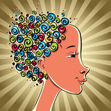 Girl with color curls hair. Royalty Free Stock Images