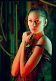 Girl in color lights Royalty Free Stock Photo
