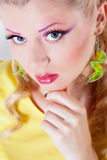 Girl with color make-up Royalty Free Stock Photos
