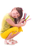 Girl with color pencils Stock Images