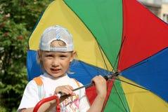 Girl with color umbrella Royalty Free Stock Photos