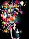 Girl color vector composition Royalty Free Stock Images