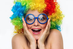 Girl in color wig Stock Photography