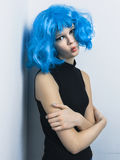 Girl in color wig Stock Photo
