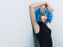 Girl in color wig Royalty Free Stock Photography