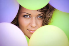 Girl with colored balloons Royalty Free Stock Photos