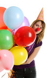 Girl with colored balloons. Girl with colored baloons isolated on the white stock image