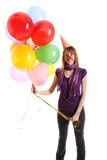 Girl with colored baloons. Isolated on the white Royalty Free Stock Photos
