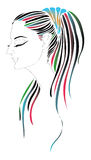 Girl with colored hair. Line drawing of a girl with colorfull hair,  is available Royalty Free Stock Photo