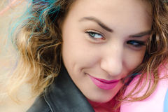 Girl with colored hair. Girl with coloed hair, smile and Stock Photos
