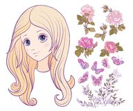 Girl with colored long hair with set of rose, butterfly and bran. Ch. Stock line vector illustration Stock Photography