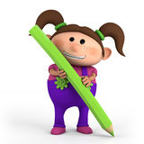 Girl with colored pencil. Cute cartoon girl with colored pencil- high quality 3d illustration Royalty Free Stock Images