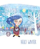 The girl in a colored scarf holds a bird. Author`s technique of collage using various pictorial textures. Hello winter is a seasonal illustration royalty free illustration
