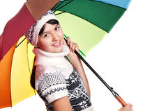 Girl with colored umbrella Stock Image