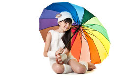 Girl with colored umbrella Royalty Free Stock Images