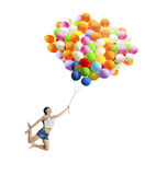 Girl with colorful balloons Stock Image
