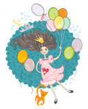 Girl with colorful balloons. Royalty Free Stock Photography