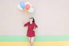 Girl With Colorful Balloons Series Stock Photography