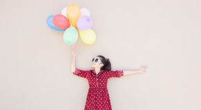 Girl With Colorful Balloons Series Royalty Free Stock Photos