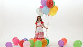Girl With Colorful Balloons stock video footage