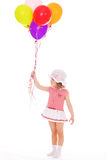 Girl with colorful balloons. Stock Photos