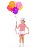 Girl with colorful balloons. Royalty Free Stock Images