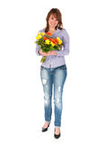 Girl with colorful bouquet Stock Photo
