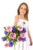 Girl with colorful bouquet Royalty Free Stock Photo