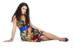 Girl in colorful dress Stock Images