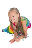 Girl in a colorful dress Royalty Free Stock Photo