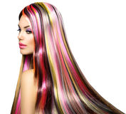 Girl with Colorful Dyed Hair Stock Photos