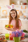 Girl with colorful Easter eggs Stock Images