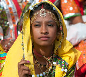 Girl  in colorful ethnic attire Stock Images