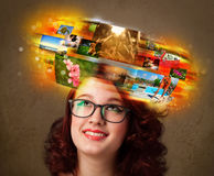Girl with colorful glowing photo memories concept Royalty Free Stock Images