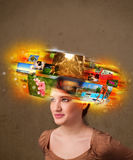 Girl with colorful glowing photo memories concept Stock Photography