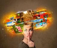 Girl with colorful glowing photo memories concept Stock Image