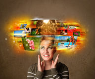 Girl with colorful glowing photo memories concept Stock Photo