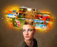 Girl with colorful glowing photo memories concept Royalty Free Stock Photography