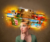 Girl with colorful glowing photo memories concept Royalty Free Stock Photos