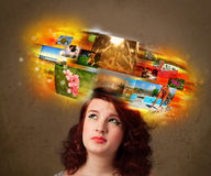 Girl with colorful glowing photo memories concept Royalty Free Stock Photo