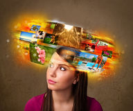 Girl with colorful glowing photo memories concept Stock Photos