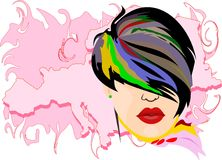 Girl with colorful hair Stock Photo