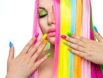 Girl with Colorful Hair and Nail polish Stock Image