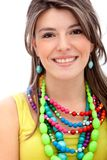 Girl with colorful jewelry Royalty Free Stock Photos