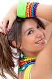Girl with colorful jewelry Stock Photo