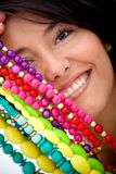 Girl with colorful jewelry Royalty Free Stock Image