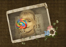 Girl with colorful lollipop Stock Images